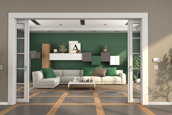 Modern Living Room With Sliding Door High Quality Architecture Stock Photos Creative Market