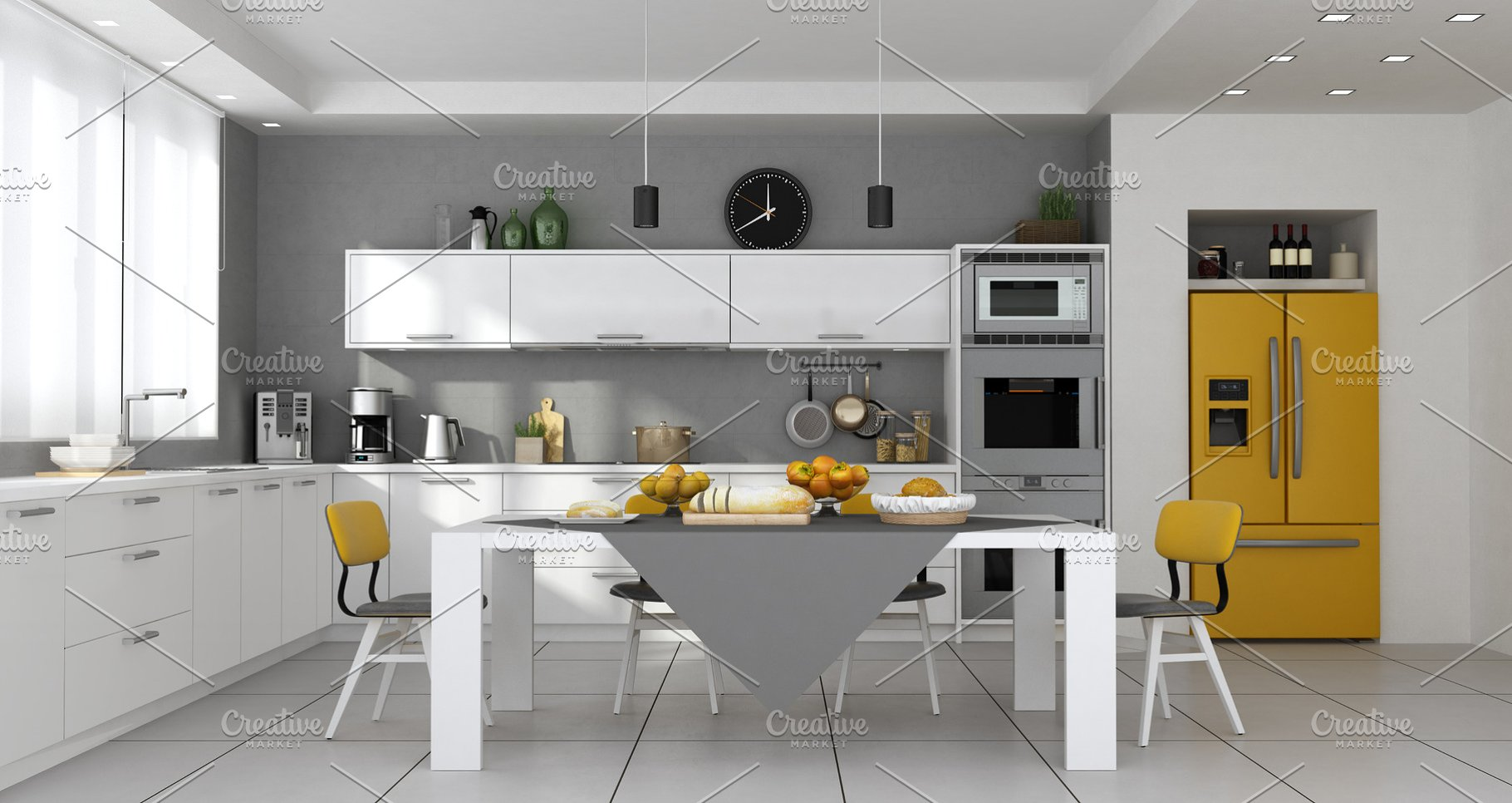 Contemporary kitchen with table set