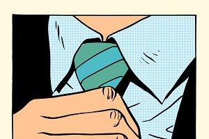 gentleman straightens tie