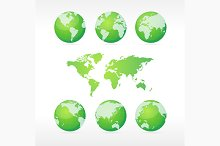 Green Globe and Map Set. Vector