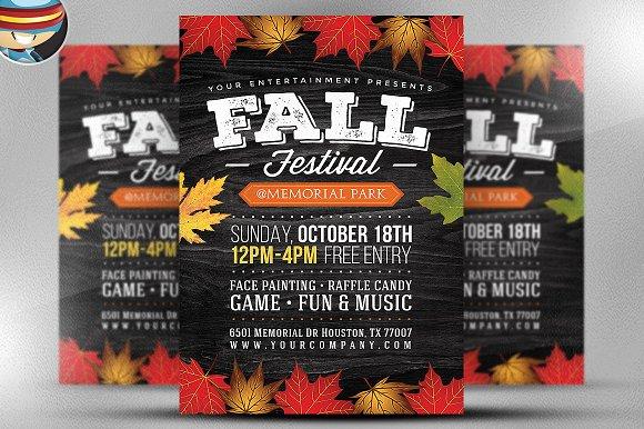 fall festival flyer template 2 flyer templates creative market. Black Bedroom Furniture Sets. Home Design Ideas