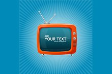 Retro TV on Blue Background. Vector