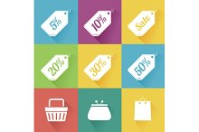 Flat Sale Icons Set. Vector