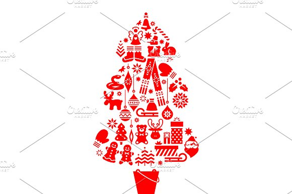 Christmas Tree Illustration. Icons - Illustrations