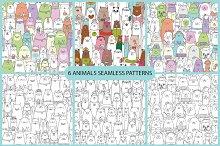 6 animals seamless patterns