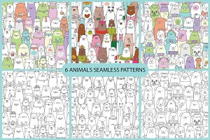 6 animals seamless patterns