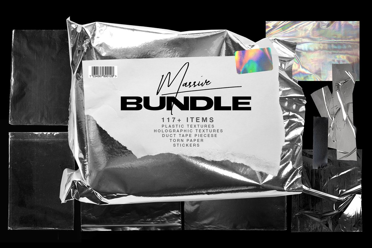 Plastic Wrap & Torn Paper Bundle in Objects - product preview 8