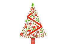 Christmas Tree Illustration. Icons