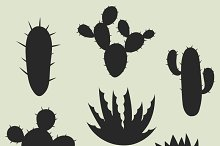Collection of stylized cactuses.