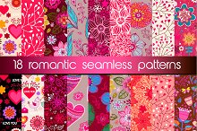 Set of 18 romantic seamless patterns