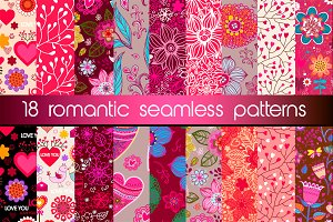 Set of 18 romantic seamless patterns