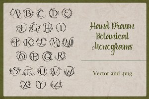 Botanical Monograms Vector, PNG, OTF