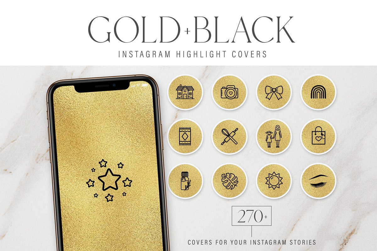 Gold Instagram Highlight Covers
