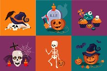 Holiday Halloween banners set