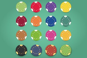 sixteen colorful poker chips