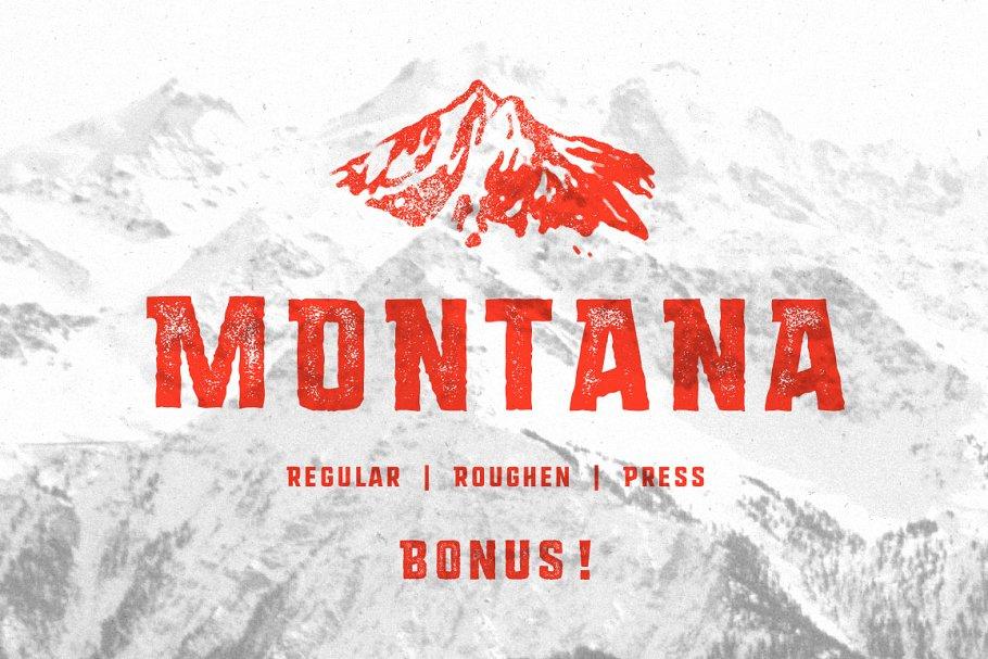 Best MONTANA • Font family + Freebies! Vector