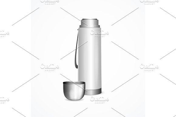 Realistic 3d Thermos Template Mockup