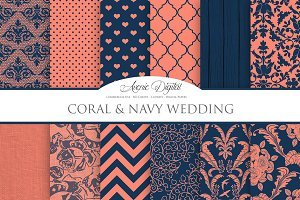 Coral and Navy Wedding Backgrounds