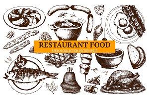 Hand drawn food sketch set