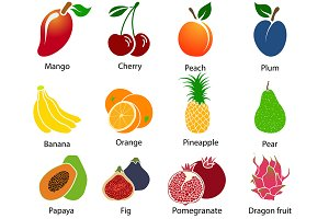 Set of 12 Fruit Icons With Title