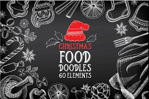 Christmas food doodles 60 elements