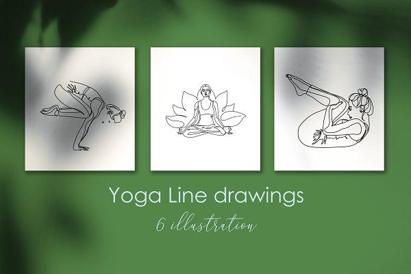 Yoga line drawing. Line art