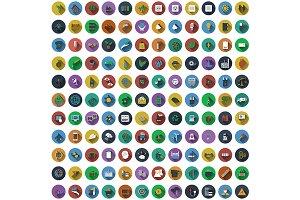 132 Circle Flat Design Icons