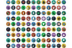 108 Circle Flat Design Icons