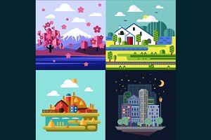 Four of the landscape in flat style