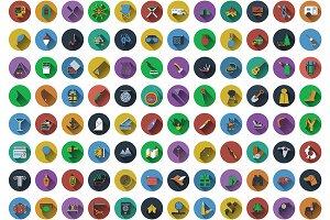 96 Circle Flat Design Icons