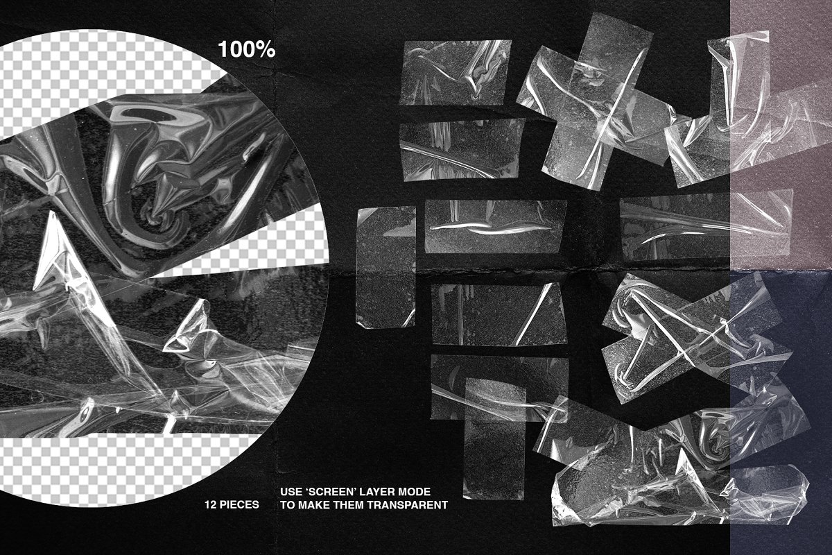 Plastic Wrap & Torn Paper Bundle in Objects - product preview 15