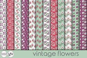 Flower digital paper VINTAGE FLOWERS