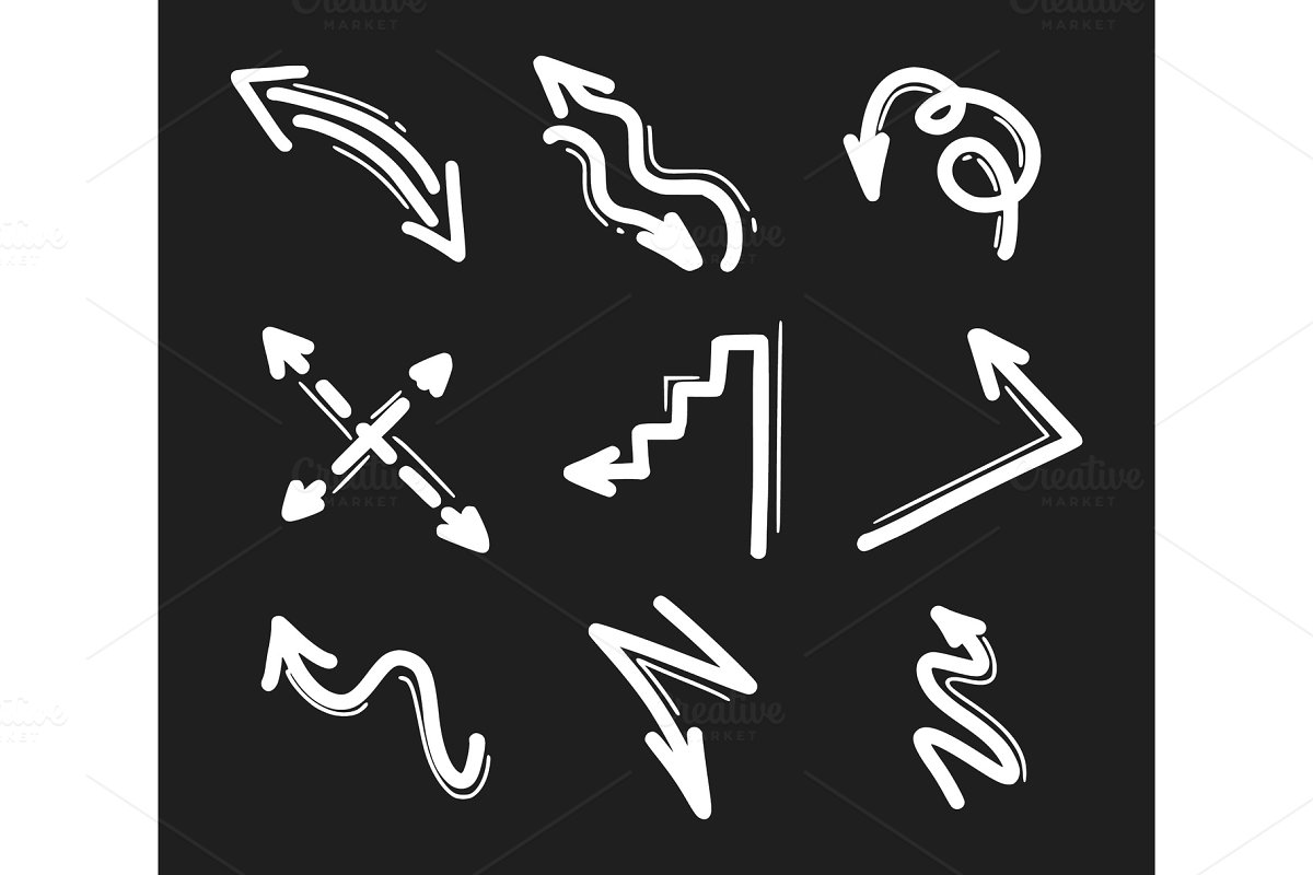 Set of hand drawn arrow icons in Objects - product preview 8