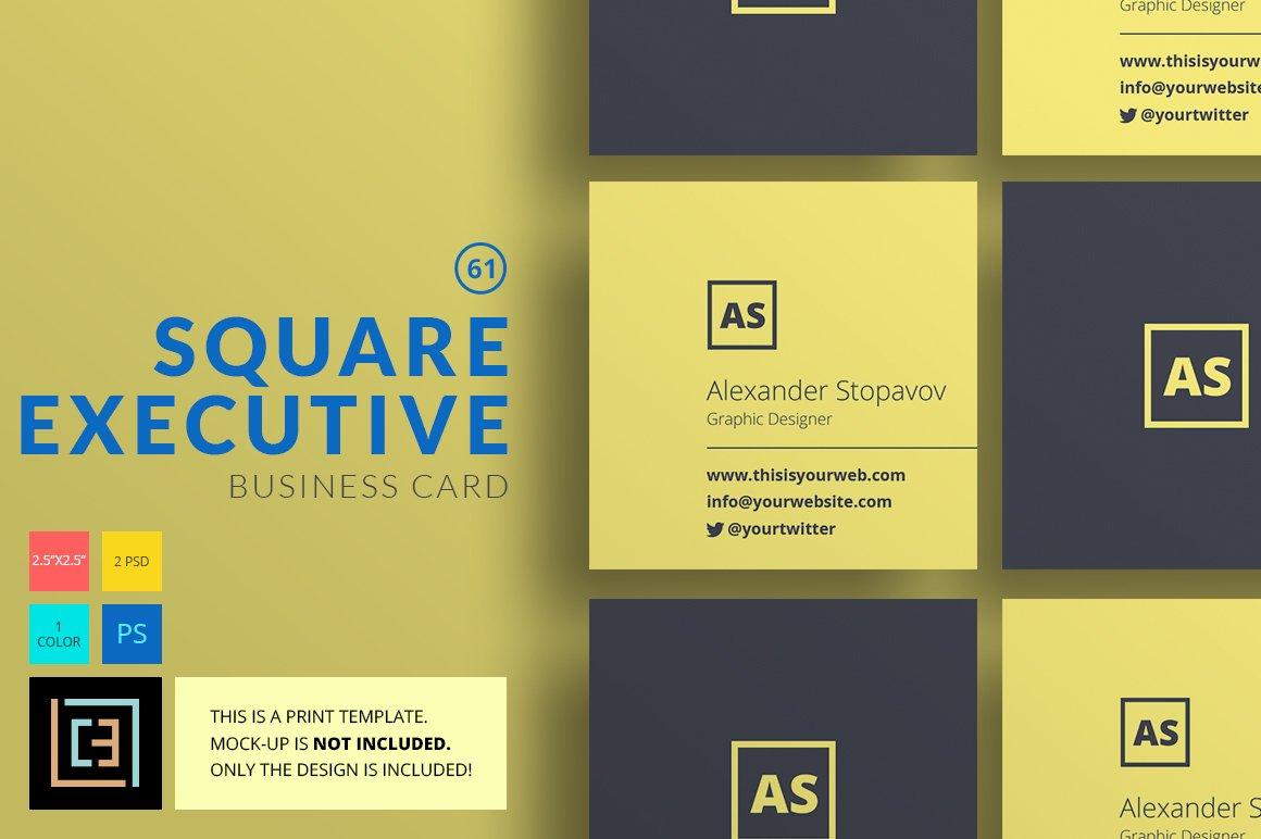 Square Executive - Business Card 61 ~ Business Card Templates ...