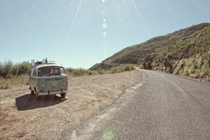Vintage VW Bus on Gravel Road