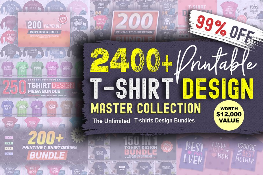 2400 TShirt Design Master Collection in Objects - product preview 8