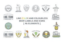 Line beer labels and icons.