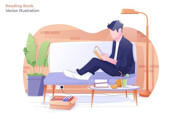 reading book vector illustration pre designed illustrator graphics creative market reading book vector illustration
