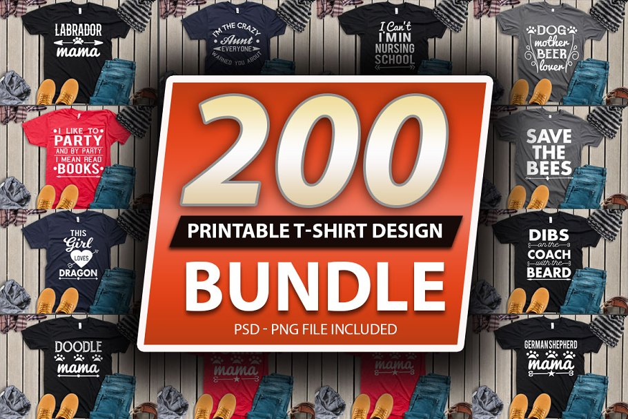 200 Tshirt design Big Bundle Vol 3