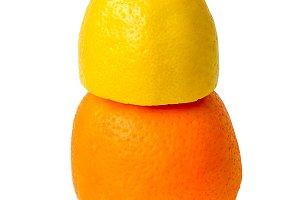 Lemon and orange fruit isolated