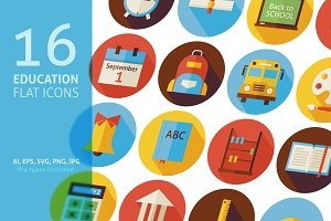 Education School Vector Flat Icons