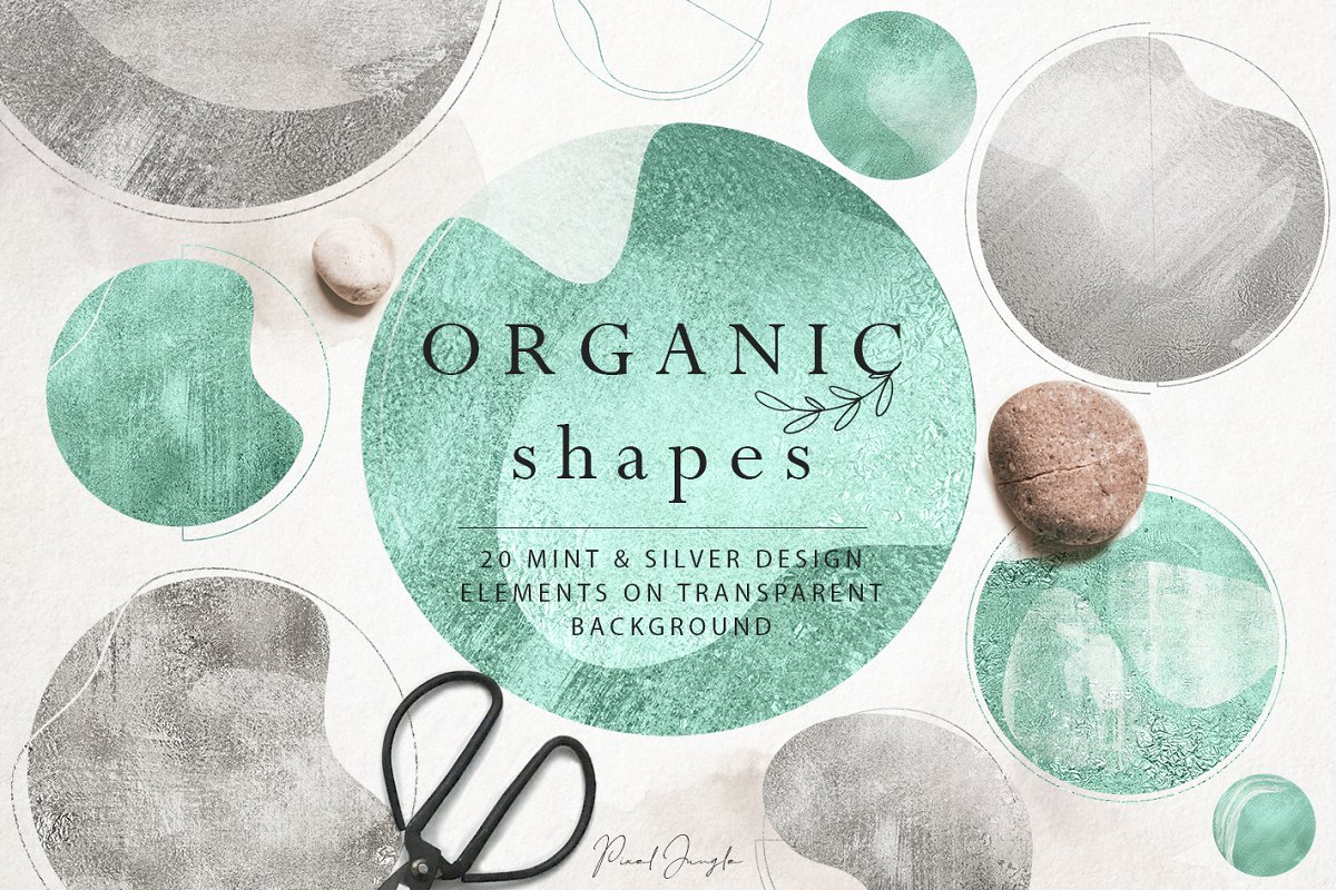 Silver & Mint organic shapes