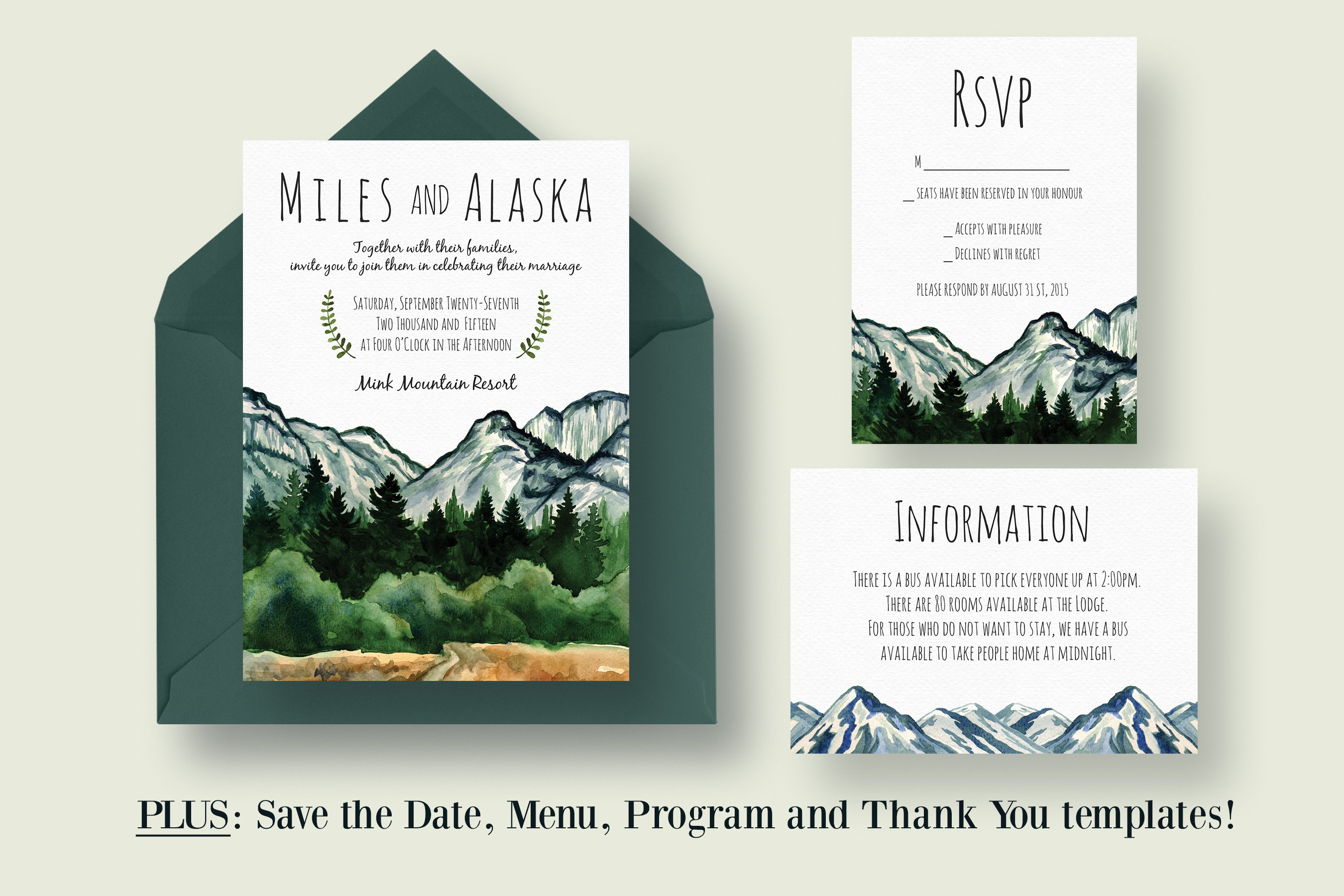 Mountain Wedding Invitation Suite ~ Invitation Templates ...
