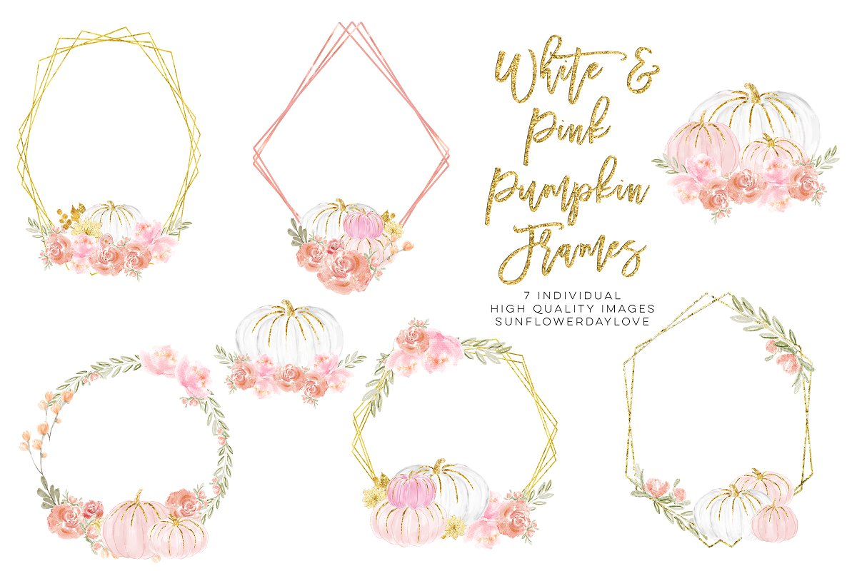 Watercolor Floral Frame Clipart Custom Designed Illustrations