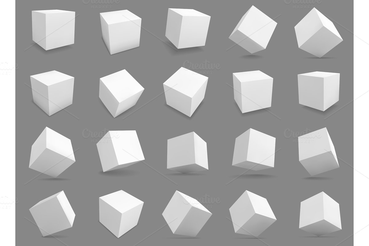 3d cubes. White blocks with