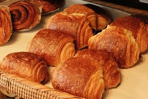 Croissant at bakery shop
