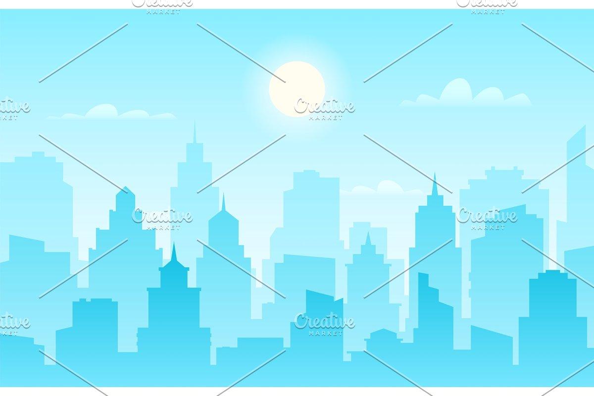 Flat cityscape. Modern city skyline