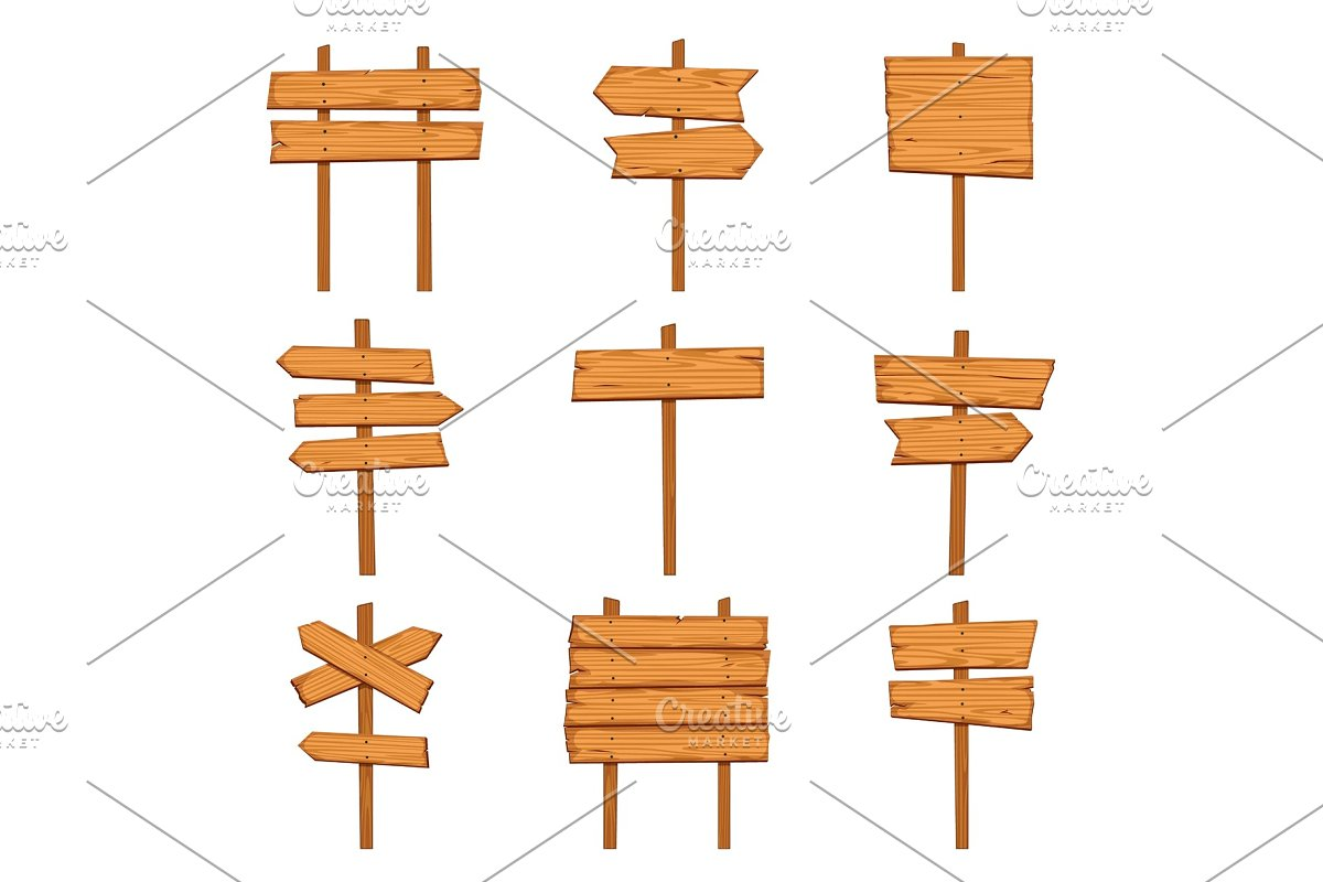 Cartoon wooden arrows. Blank wood