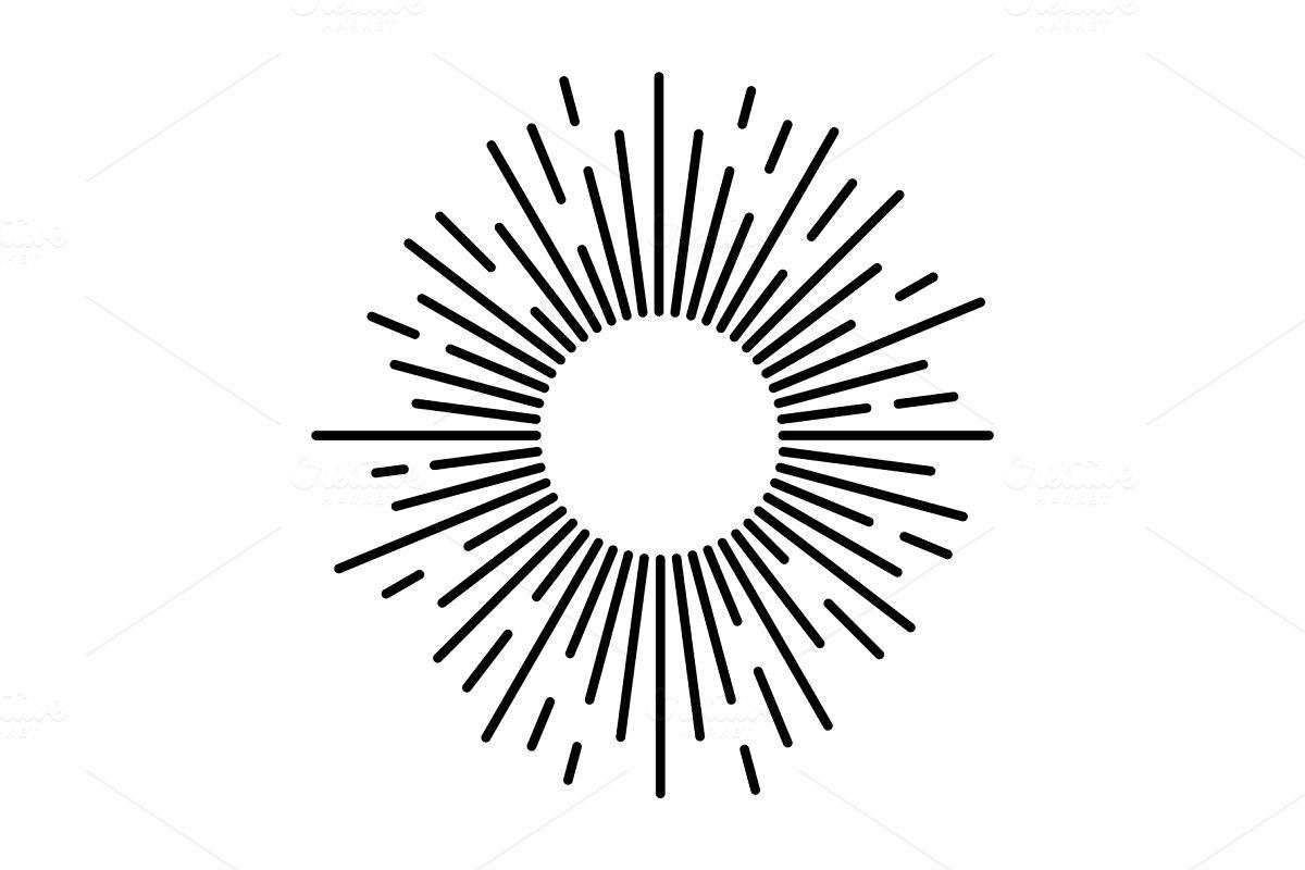 Sunbeam lines. Drawn hand motion