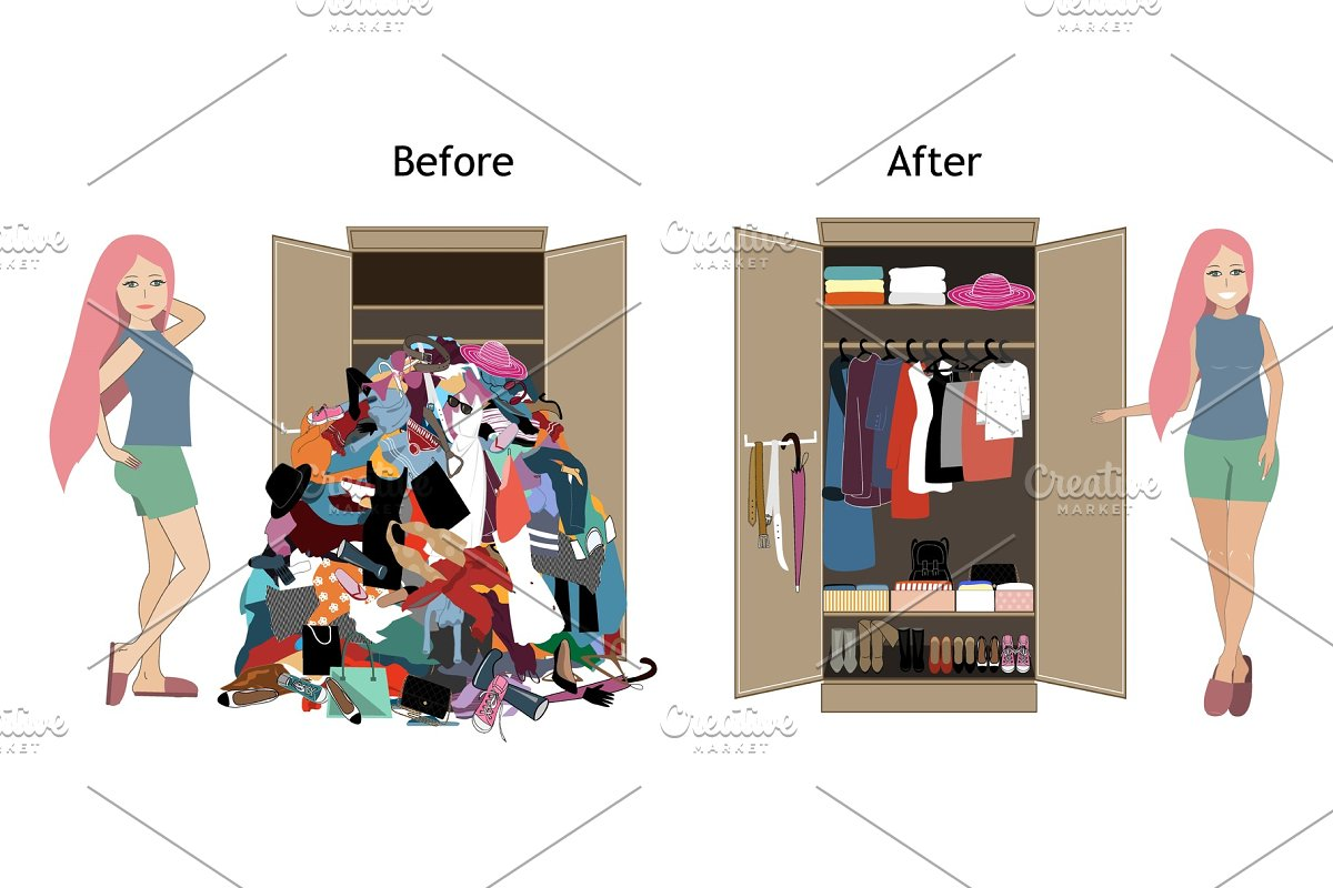 Before untidy and after tidy